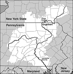 Figure 1: Map showing the extent of the Susquehanna Valley in white. The locations of sites and counties discussed in the text are also identified.  (Adapted from Karl Musser, Susquehanna River Watershed, Wikimedia Commons, http://commons.wikimedia.org/wiki/File:Susq_sub_u.png [accessed March 3, 2010].)