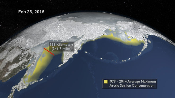 Here the 2015 maximum is compared to the 1979-2014 average maximum shown in yellow. A distance indicator shows the difference between the two in the Sea of Okhotsk north of Japan.  Credit: NASA's Goddard Space Flight Center. Download related multimedia in HD formats from NASA  Goddard's Scientific Visualization Studio