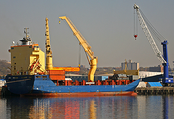 Loading a container ship, Port of Albany. Dennis W. Donohue via Shutterstock.