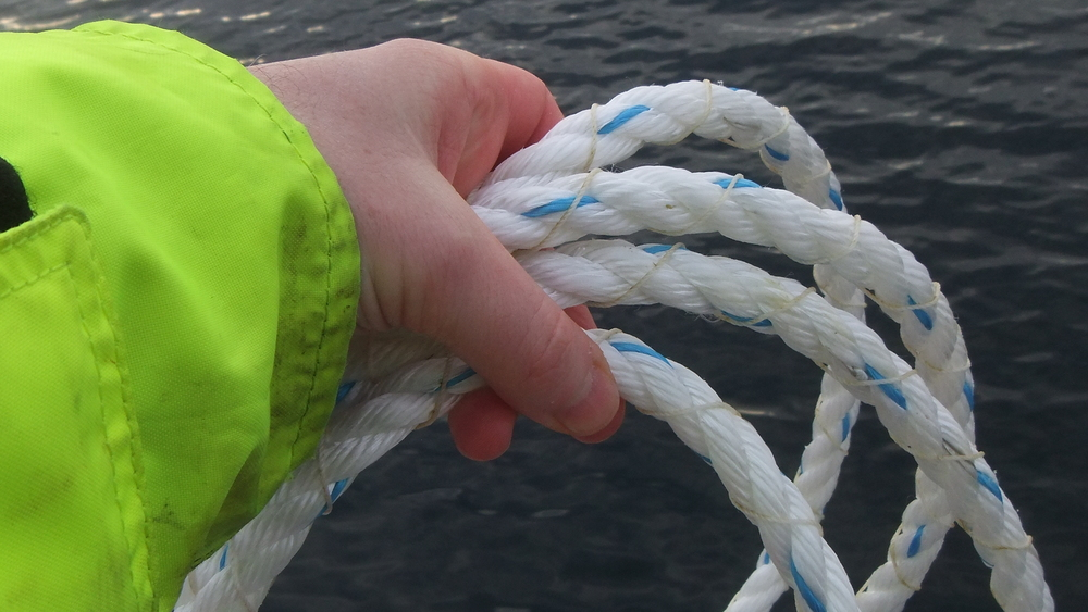 Close-up of the wound line as we were attaching it to the mooring system.