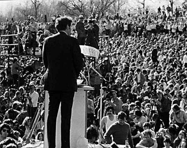 U.S. Senator Edmund Muskie of Maine, addressed an Earth Day crowd of 50,000 at Fairmont Park in Pennsylvania on April 22, 1970.