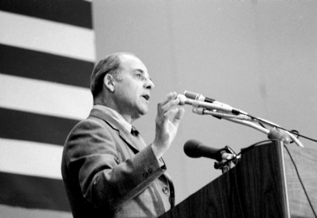 U.S. Senator Gaylord Nelson of Wisconsin, founder of Earth Day, addressed a Denver, Colorado audience on April 22, 1970, the first Earth Day.