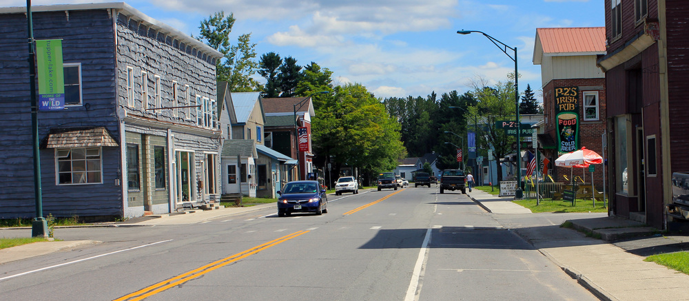 Downtown Tupper Lake in the Adirondack Park.