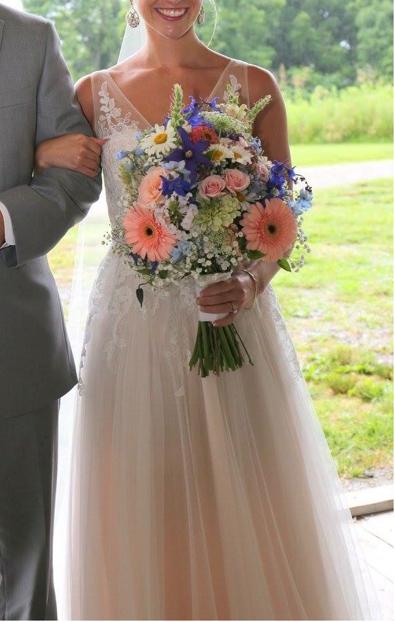 Hadley's bouquet—gerbera daisy, baby's breath, rose, delphinium, daisy, zinnia, queen anne's lace