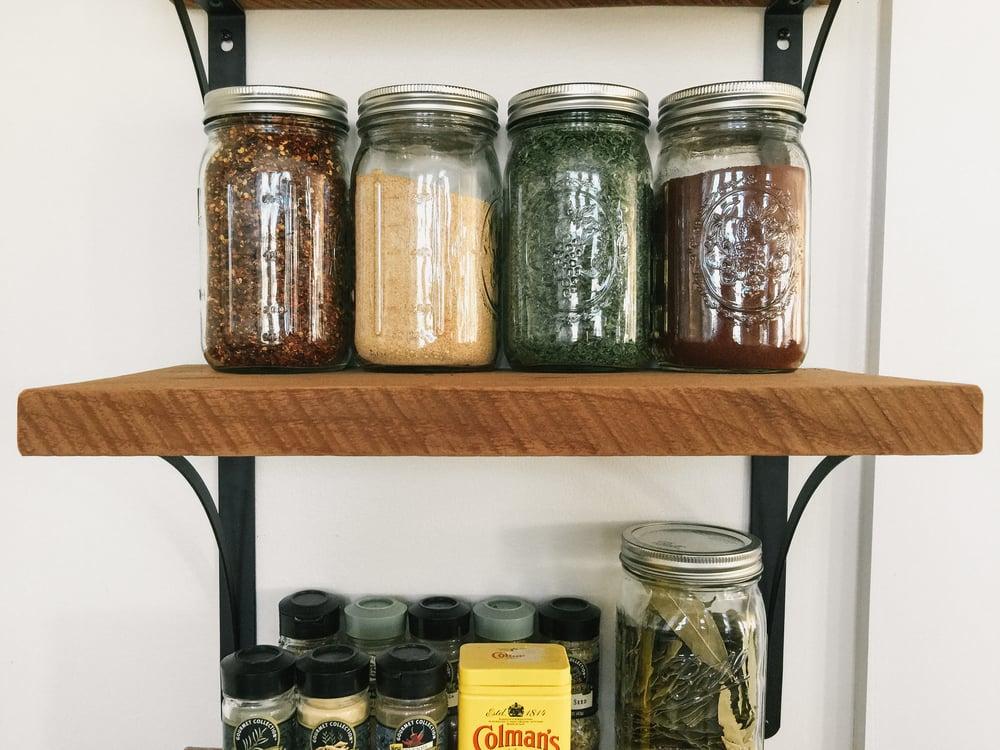 diy open shelving spices mason jars