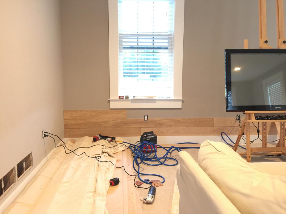 DIY shiplap plank wall