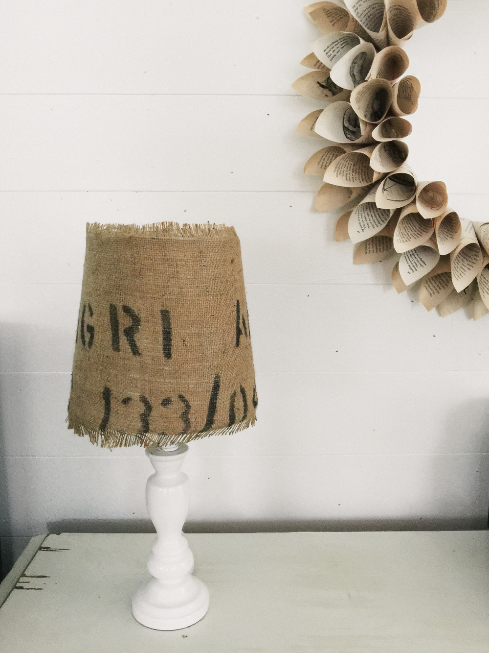 shabby chic | DIY book page wreath + burlap lamp shade