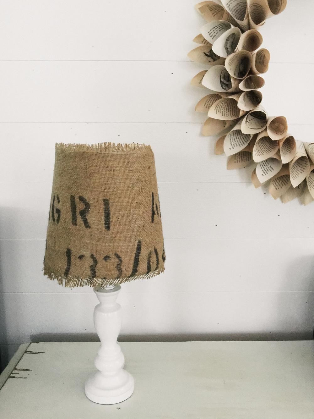 shabby chic | DIY book page wreath + burlap lamp shade