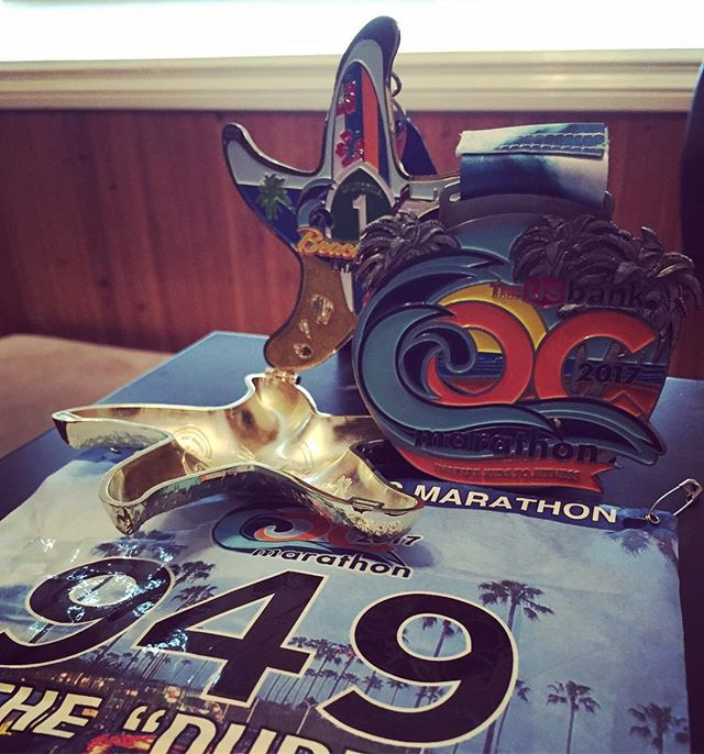Finished OC marathon and completed beach cities challenge for 2nd time in a row. It poured and flooded for 10 miles with a strong headwind for 15 miles. Not my best time, but finished in the top 20 again. Glad to have completed. #run #running #ocmarathon #beachcitieschallenge #doubledogchallenge #marathon #igotwet #lovetorun #donutlove