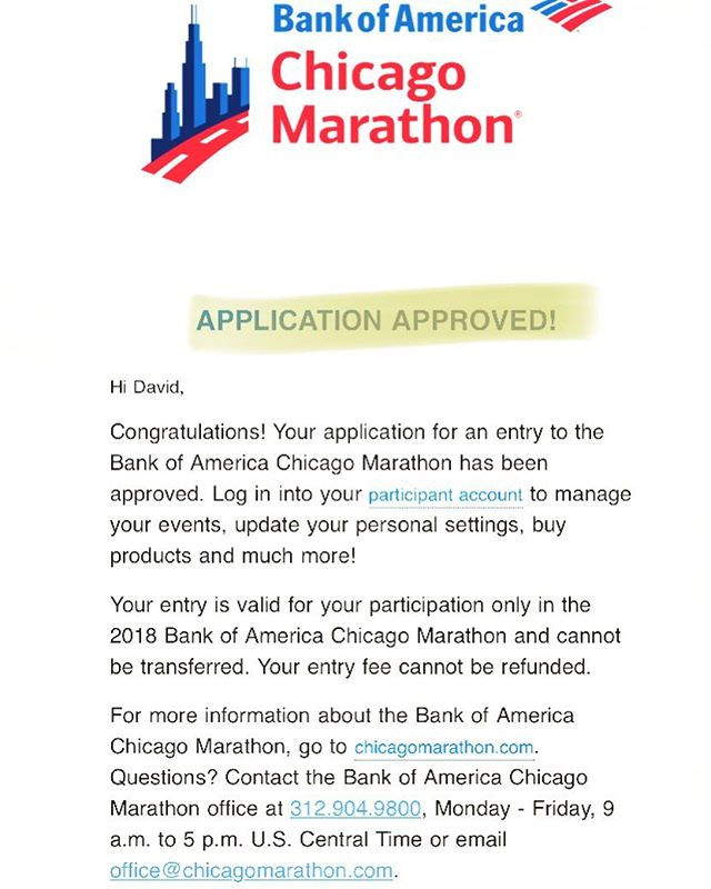"Got this in the mail today. Qualified for ""time qualification"" and automatic acceptance for the 2018 Chicago marathon. Super excited! #chicago2018 #marathon #lovetorun #runfordonuts #run #running #nosponcernoproblem"