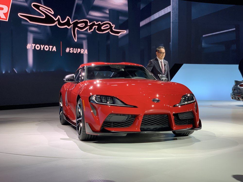 Toyota CEO Akio Toyoda smiled for the cameras as he introduced the new Toyota Supra.