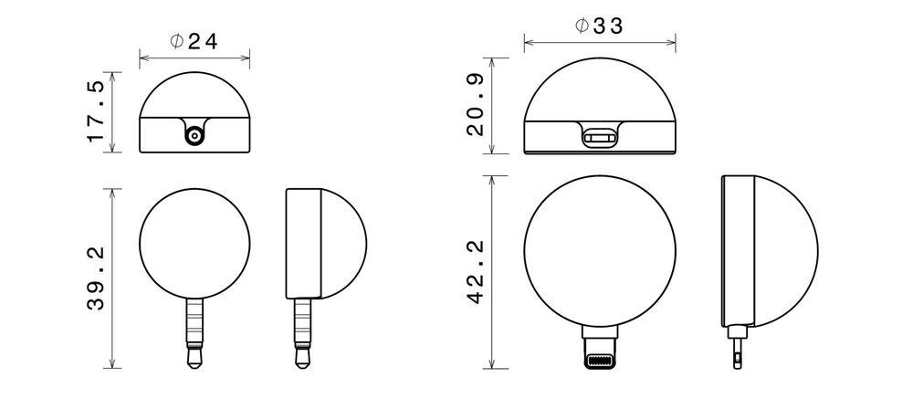 Size comparison (in millimeters) between the original Lumu meter and the new Lumu Power.