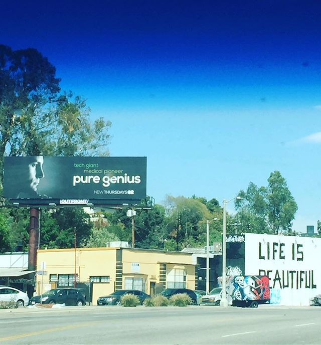 Sometimes you're driving down La Brea and you see your boyfriend on a fucking billboard for his new CBS show and you're like yeah life IS beautiful. Then you get back in traffic and go back to being in a shit mood. So proud of @augustusprew