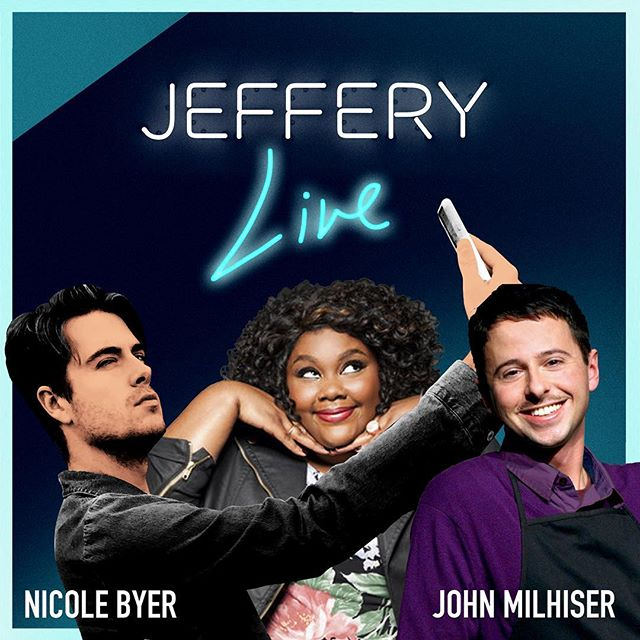 Happy to have funny people @nicolebyer and @johnmilhiser on #JefferyLive this Sunday at 12PM Pacific! Watch at JefferyLive.com