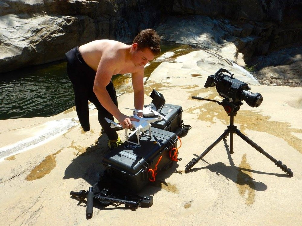 Drone filming in a canyon in central California.