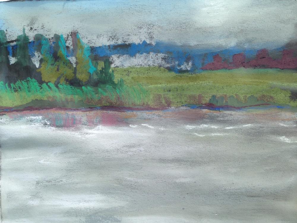 Maurice River Pastel on Black Paper