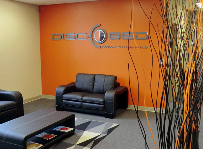 DiscOBed Lobby Signage
