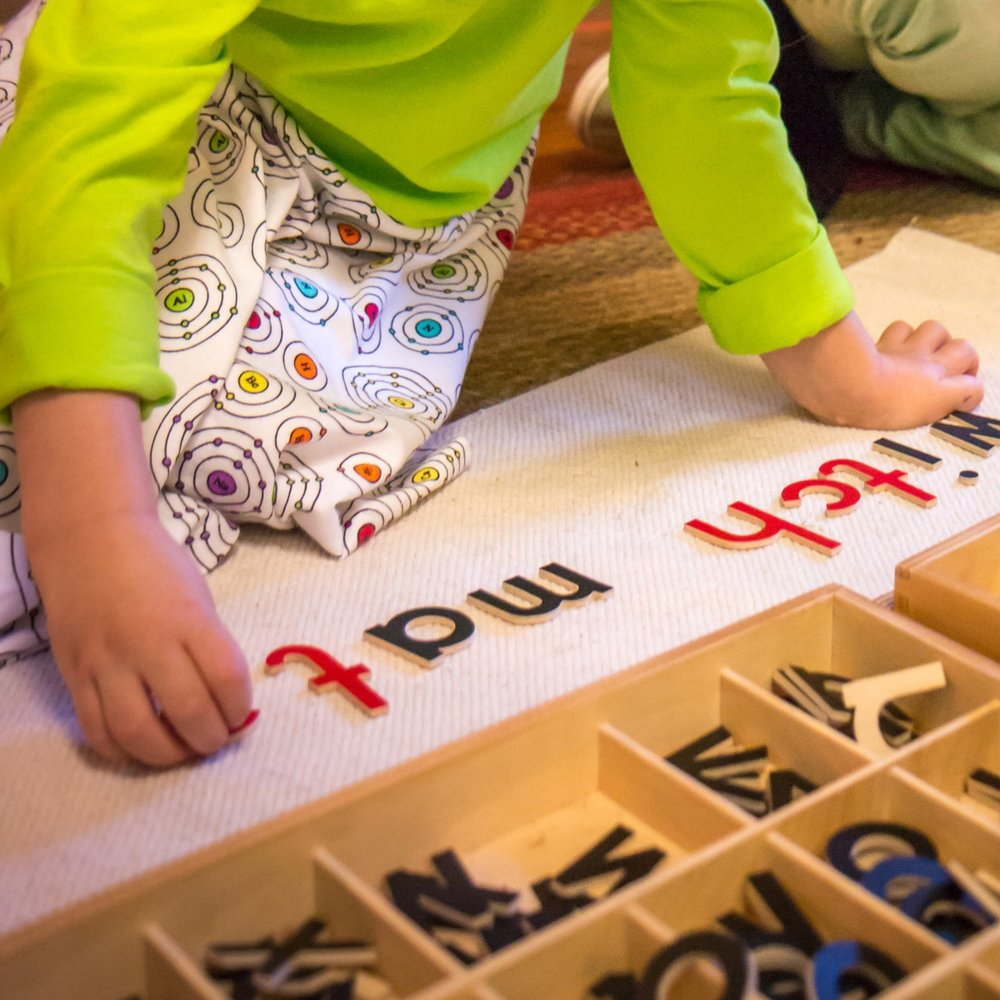 Repeating spelling patterns by composing simple words using moveable alphabet letters
