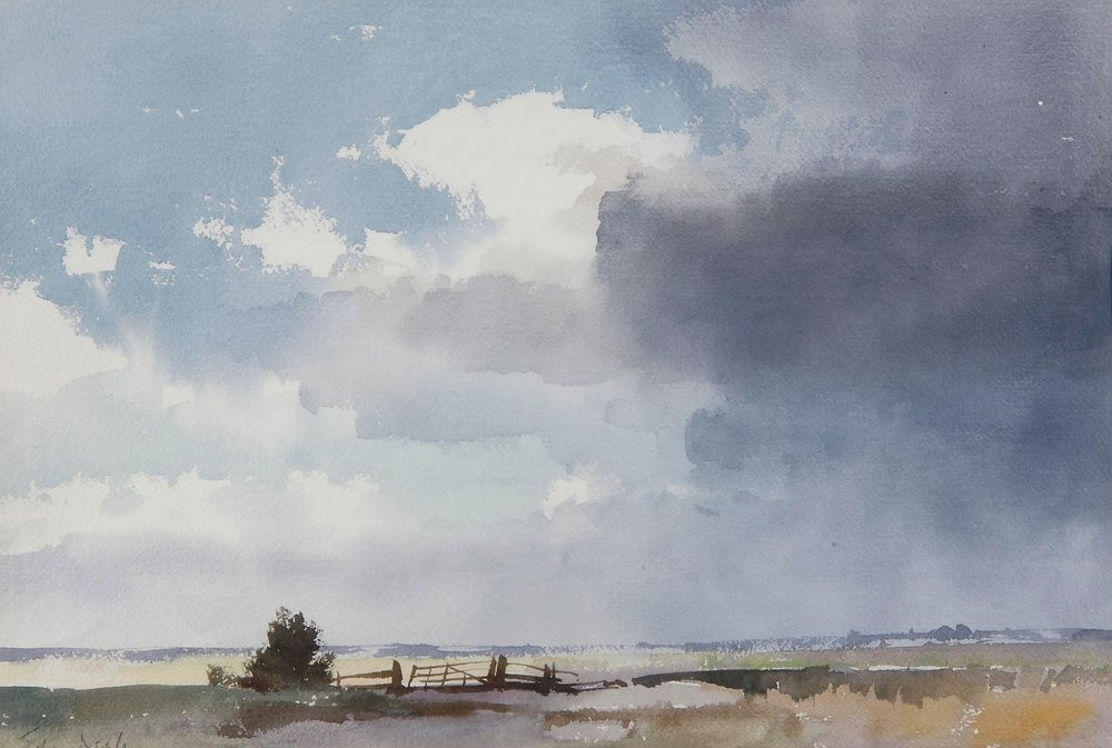 Edward Seago, Marsh and Sky, Watercolor, 14 x 20 in.jpeg