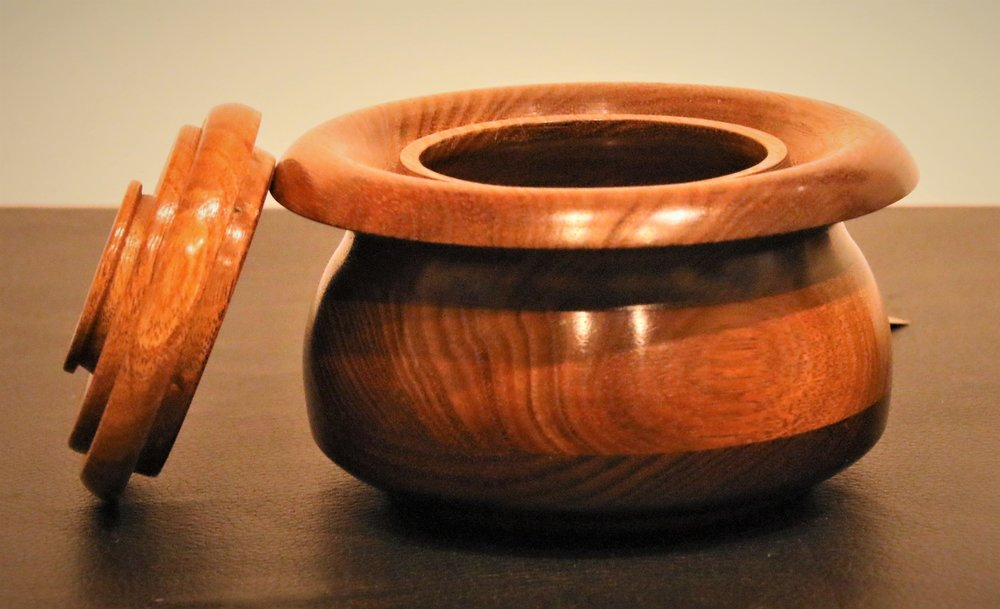 Witches Cauldron lidded bowl, Blackwood