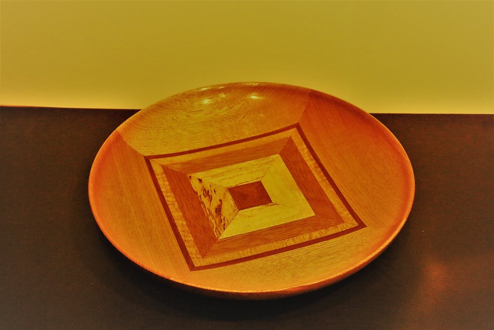 Round platter with square design, various wood