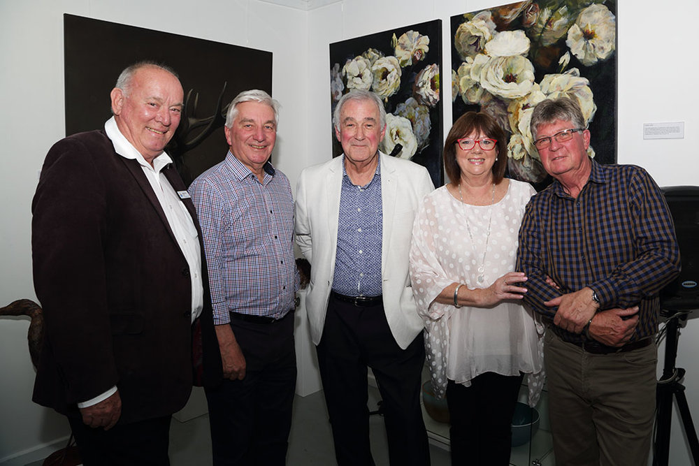 OPEN: Mayors Graham Philp and Keith Parkes with Brenton Whittle, who opened the exhibition and Artworx owners Liz and John Francis. Photo: David Woolaway.