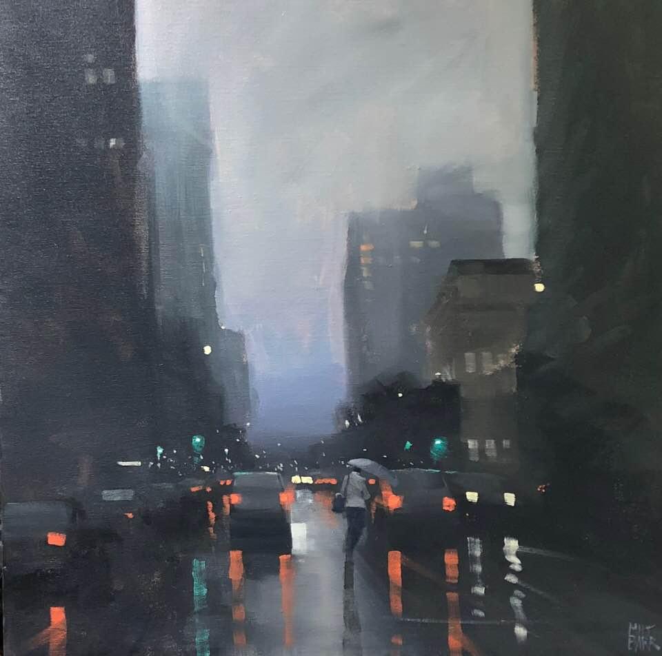 Flinders Street Rain - 60x60cm acrylic on canvas