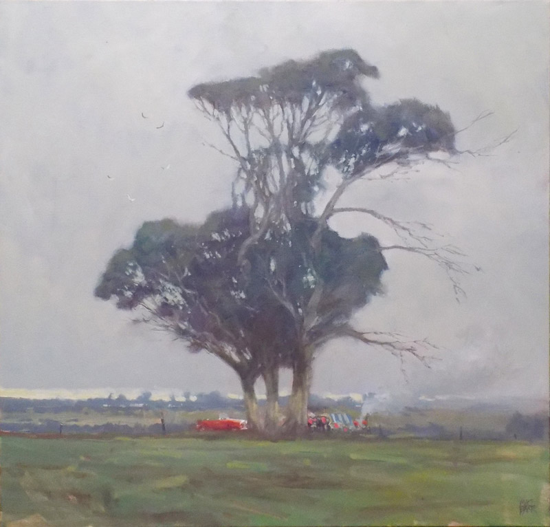 Picnic Tree - 76x76cm oil on canvas - One of my rare landscapes with trees in it! Private collection.