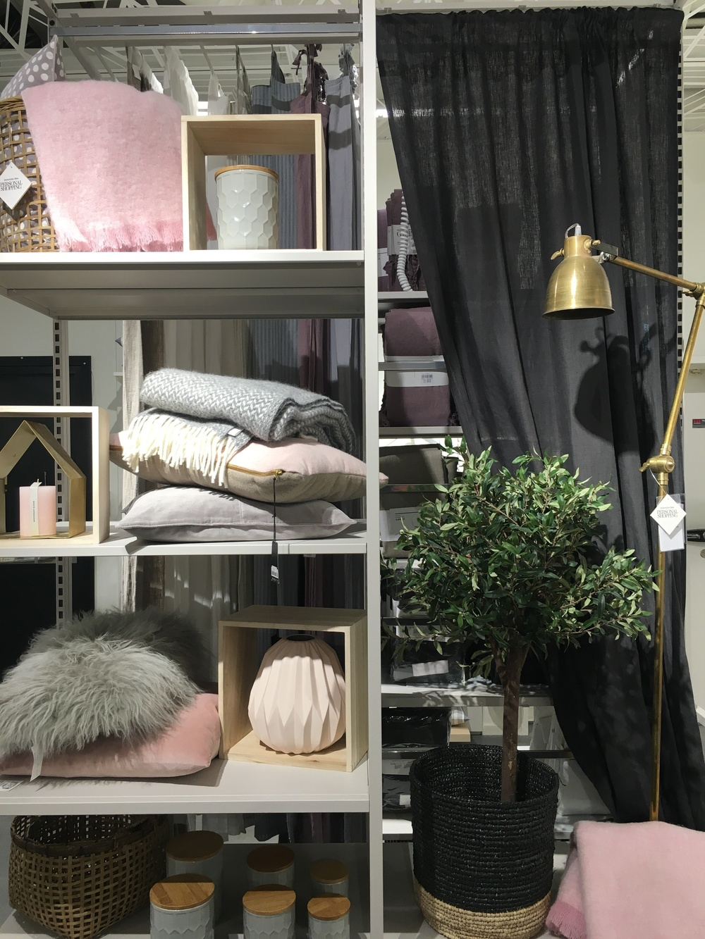 Pink and grey accessories at swedish department store Athlens, Stockholm.