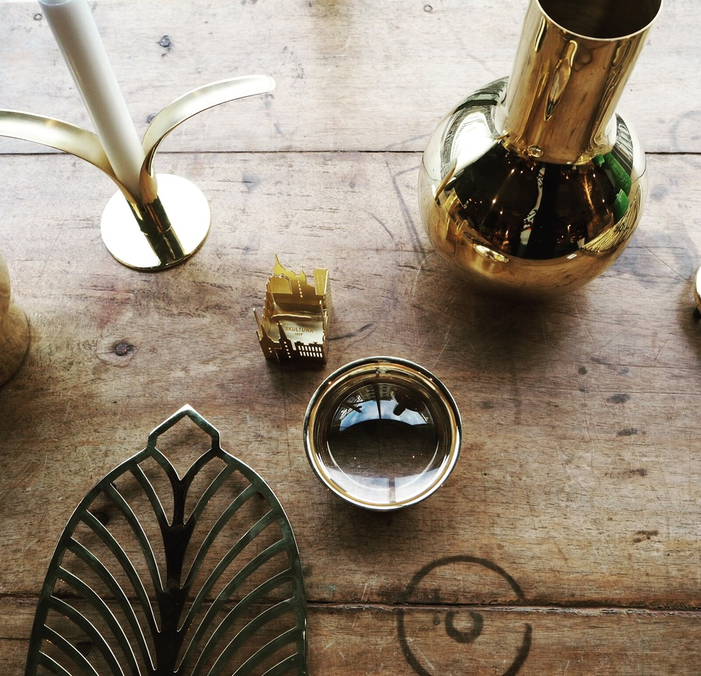 Brass Vases and accessories at Swedish homeware brand- Posh Living, Stockholm.