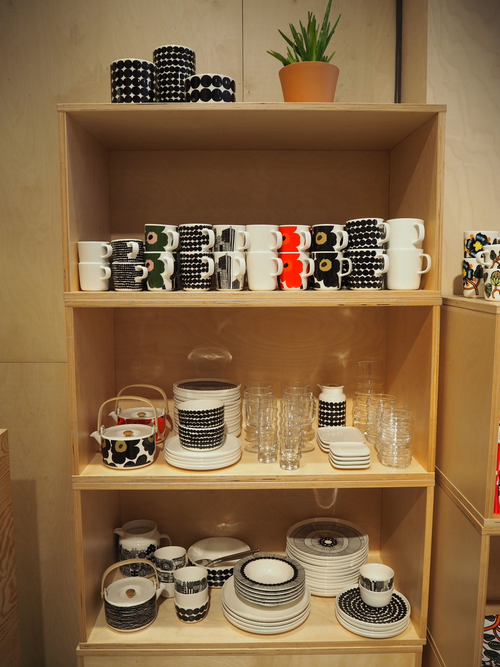 Bold printed Kitchenware at Marimekko, Stockholm.