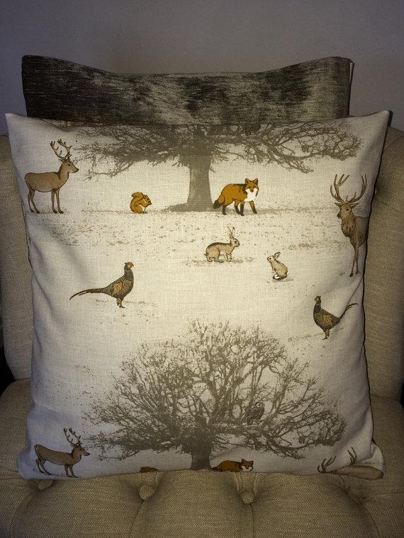 woodland themed cushions on etsy- marengo designs