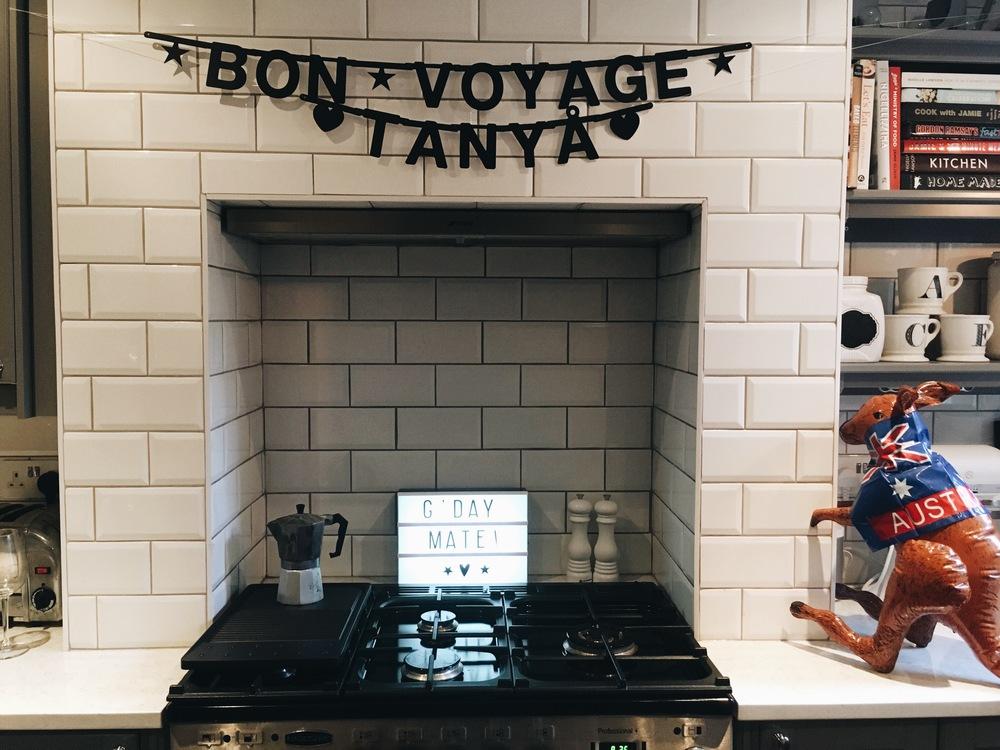 DIY WORD BANNER ON HOUSE LUST - BON VOYAGE BANNER