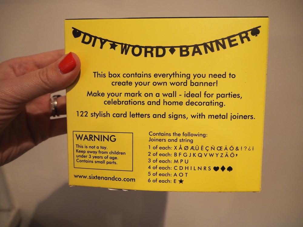 DIY word banner on the blog