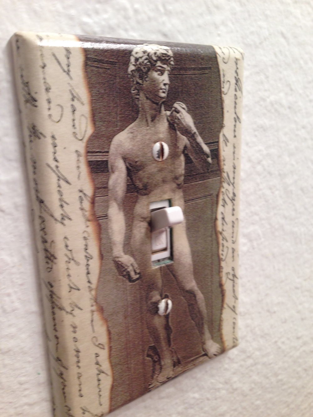 A cheeky light switch at Carole's portland oregon home.