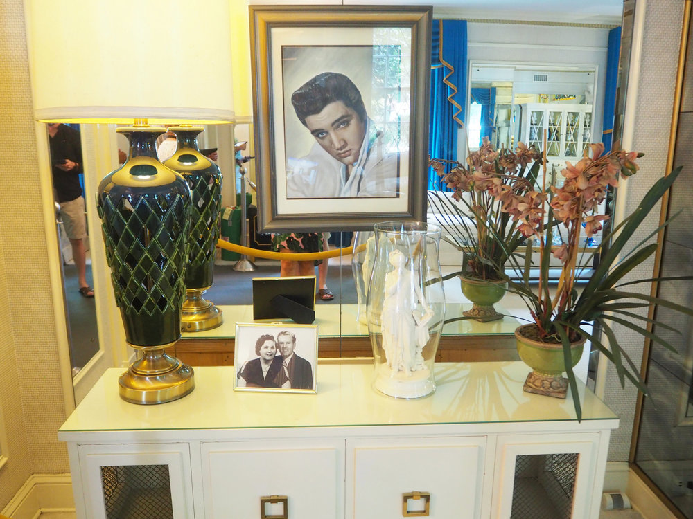 The living room inside Graceland. A photo of Elvis' parents Gladys love and Vernon Elvis Presley  {Elvis Presley's home, in Memphis Tennessee}. To read more and see more pics, click here.