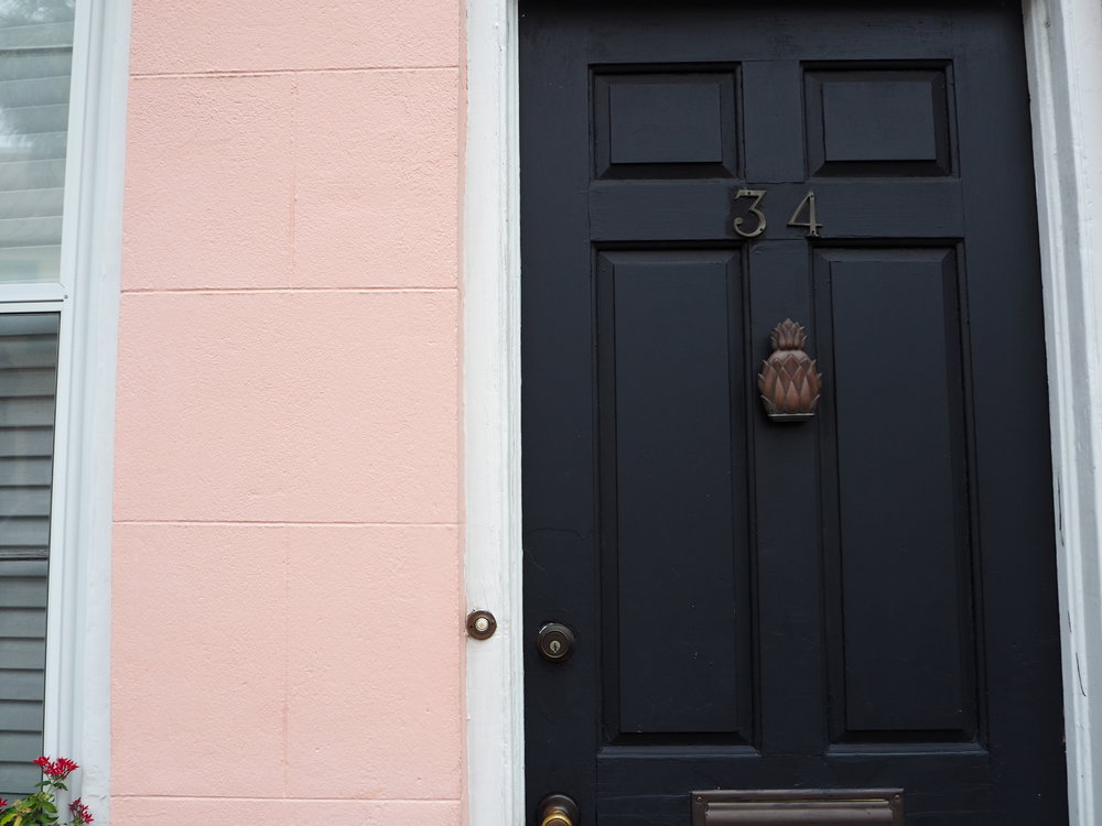 Pineapple door furniture in Charleston, South carolina.
