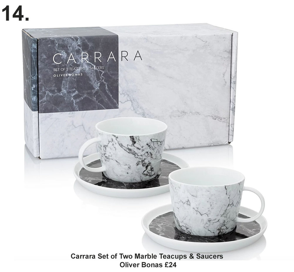Carrara Set of Two Marble Teacups & Saucers, Oliver Bonas £24