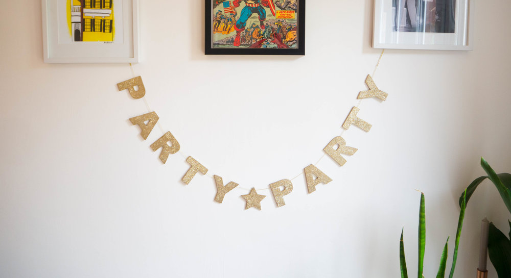 Gisela Graham 'Party Party' glitter Christmas banner.