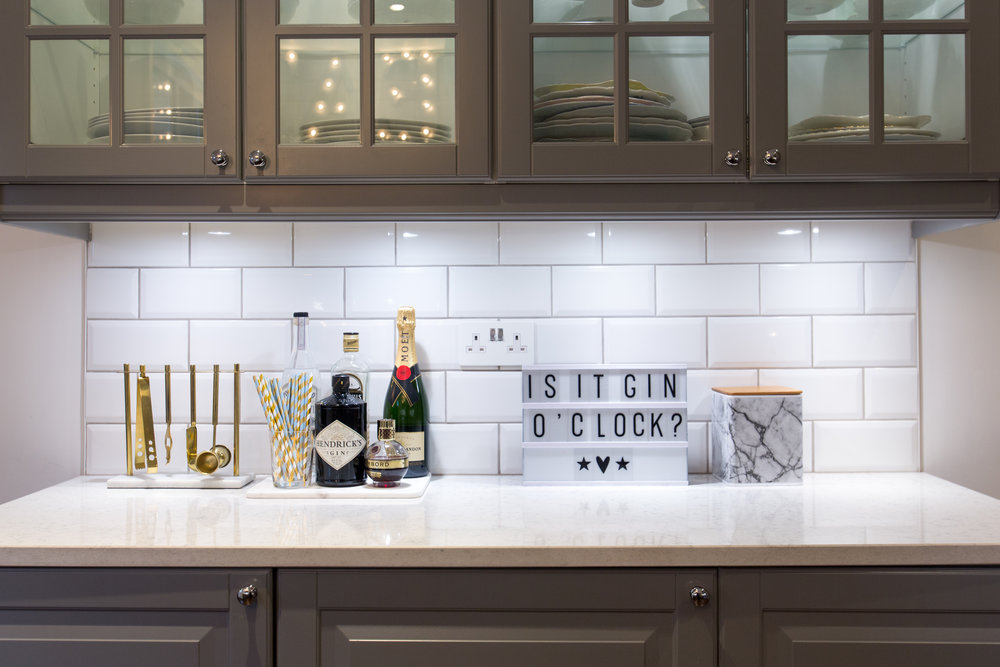 Marble and brass barware in my kitchen