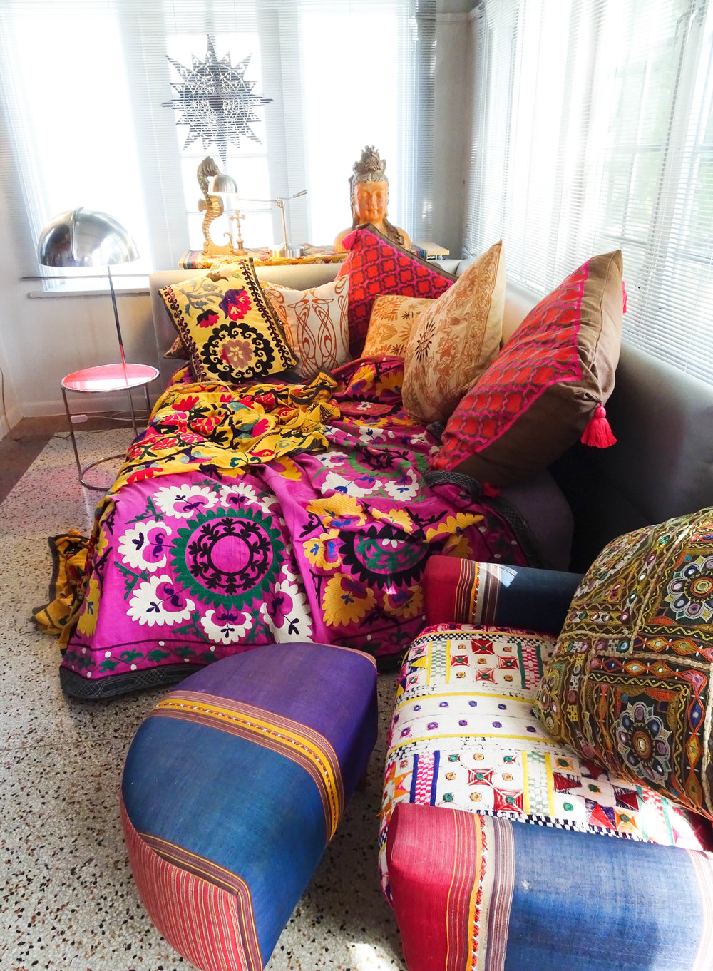 Asian influence inside Fashion Designer Barbara Hulanicki's Miami home.
