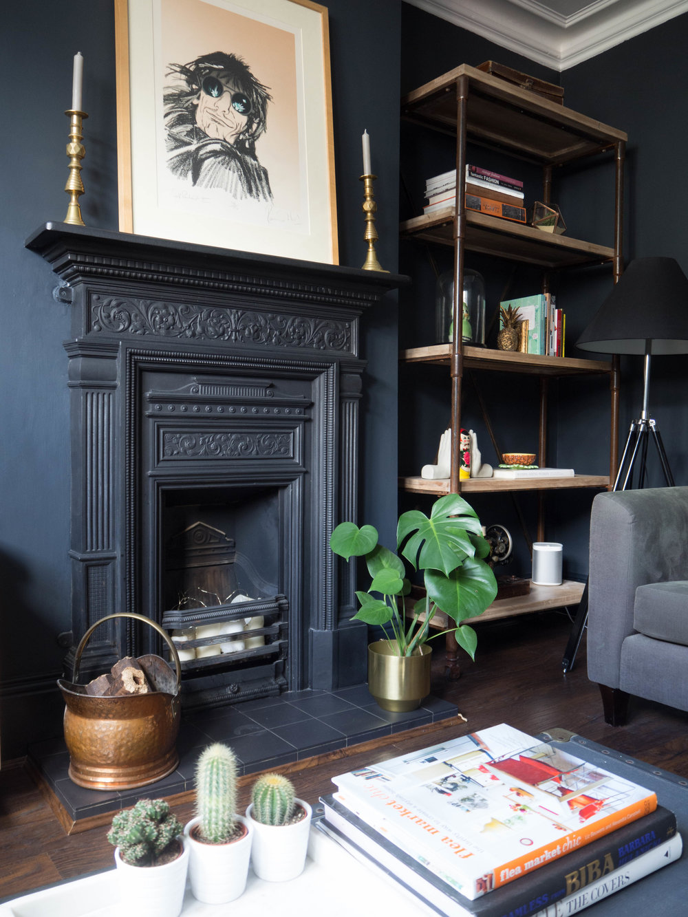 Dark lounge painted in Farrow and ball, railings.
