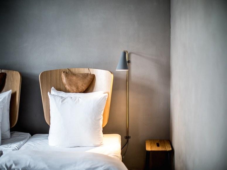The bedroom decor at Hotel SP34 in Copenhagen.