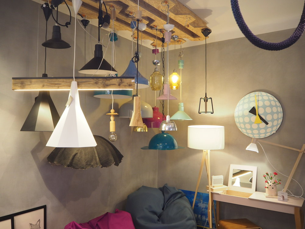 The lighting collection at Marka Concept store in Krakow, Poland. Selling quirky homeware by Polish designers.