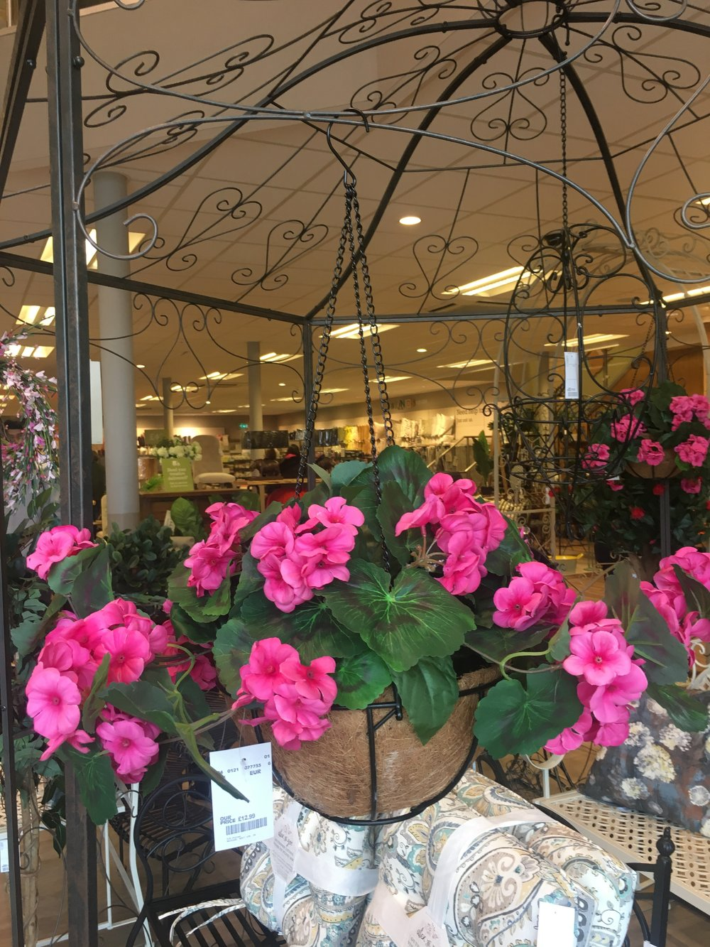 Faux hanging baskets at homesense.