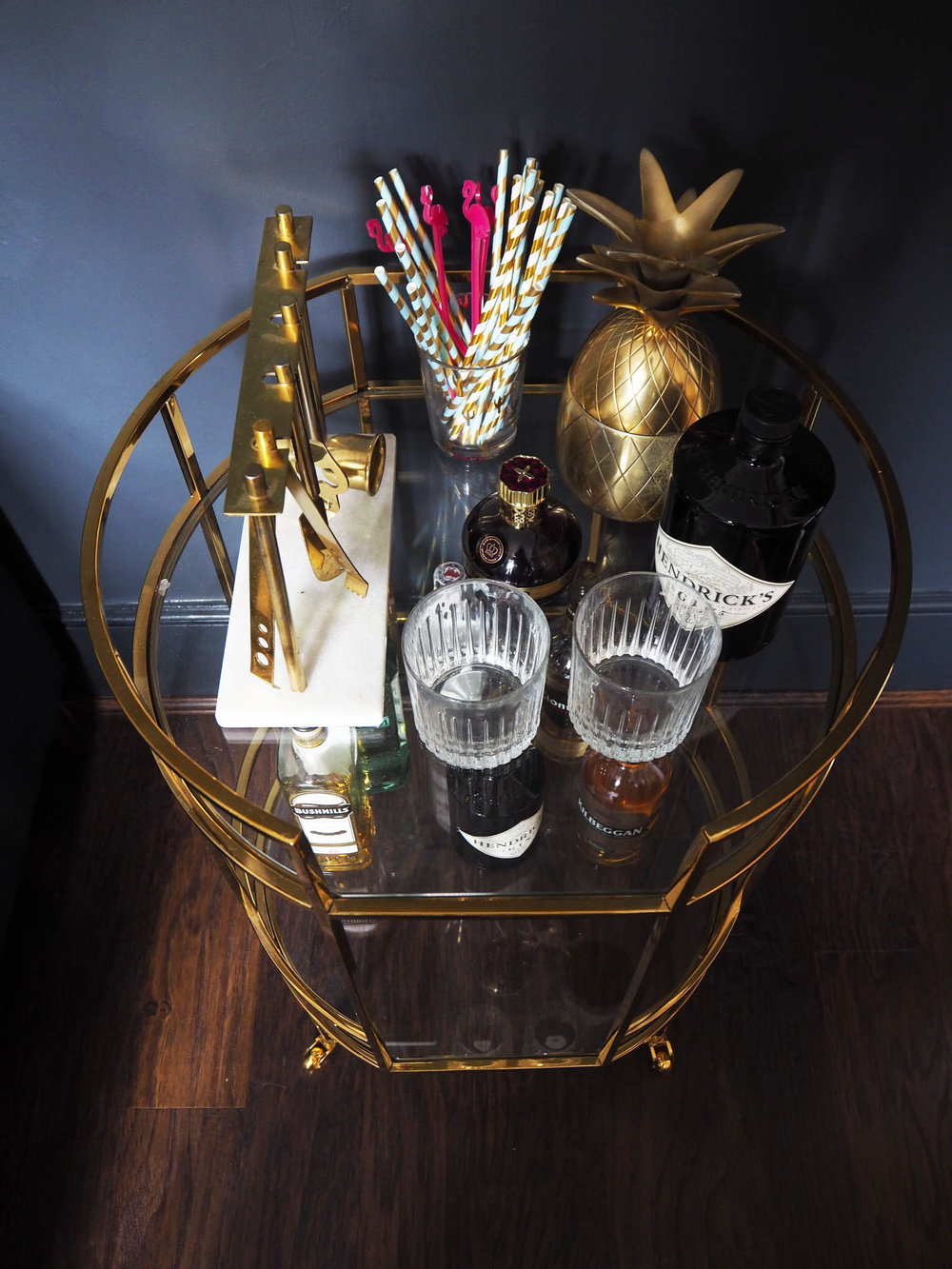 Marks and Spencer Barclay brass drinks trolley