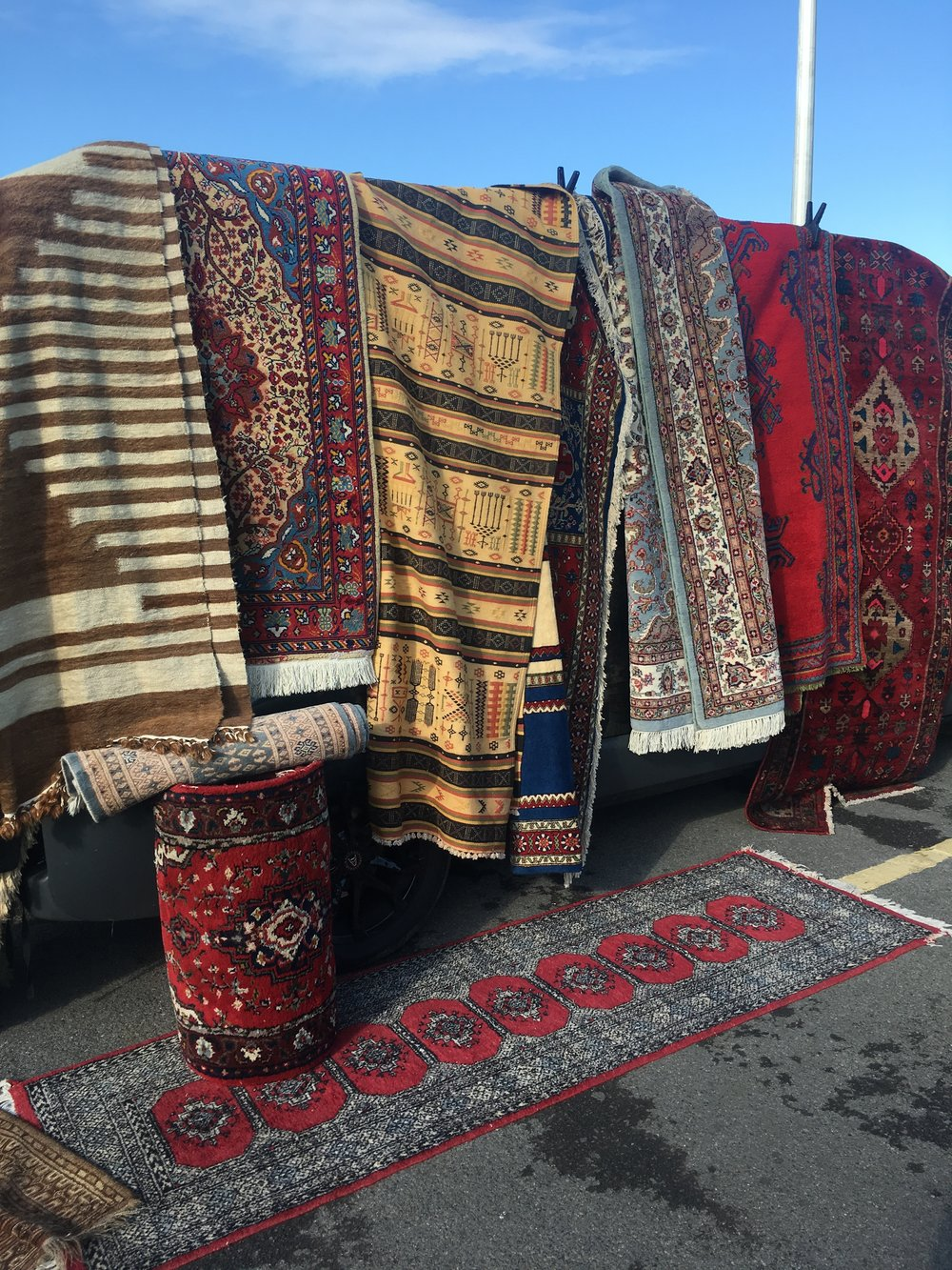 Rugs at Kempton Park's antique market