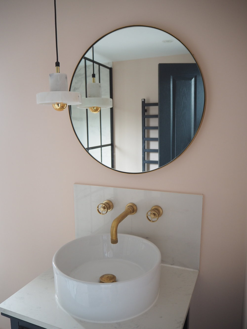 Farrow and ball pink ground bathroom, aston matthews taps and loaf mirror