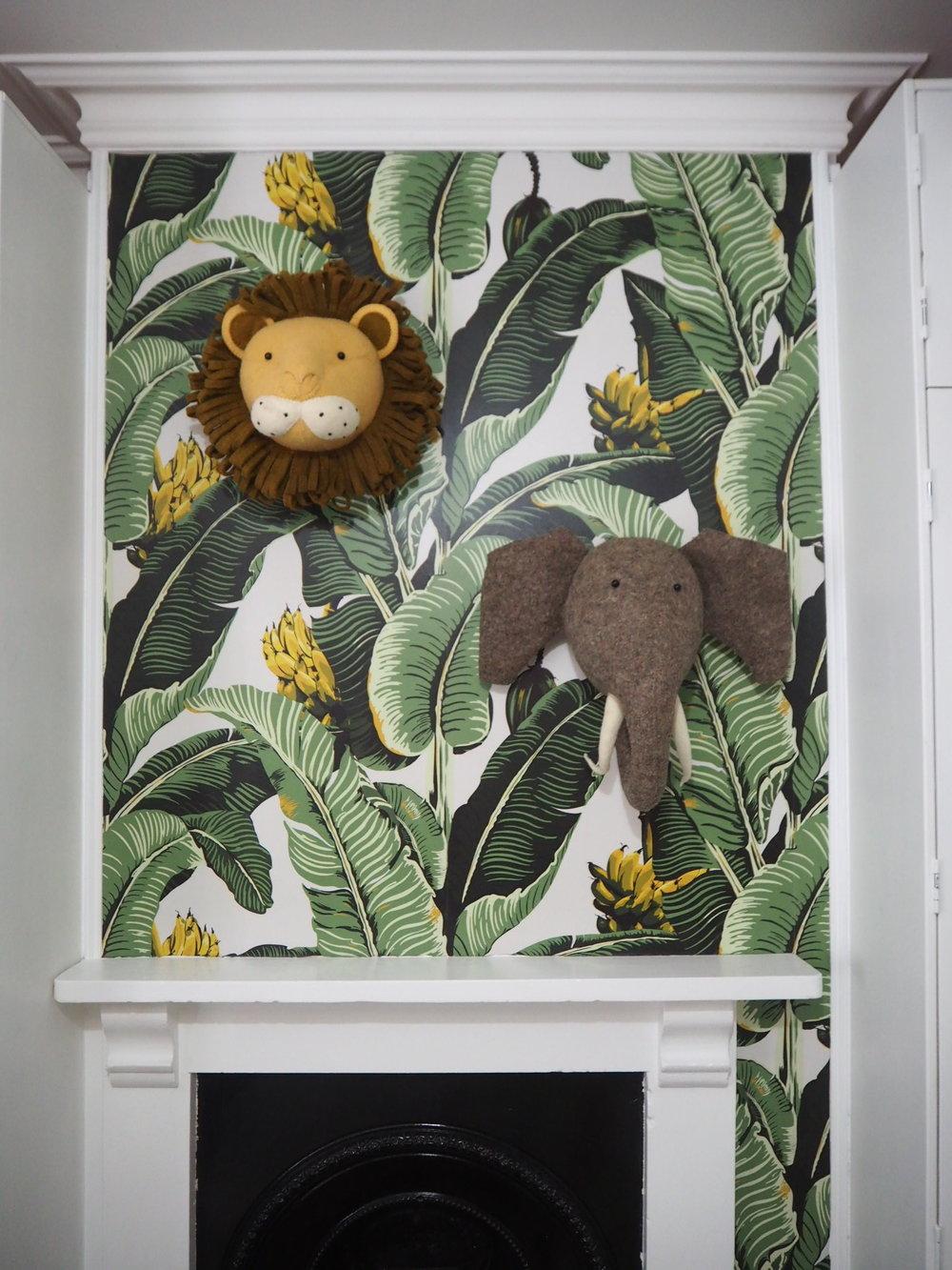 Lion and Elephant felt heads   by Fiona walker London.