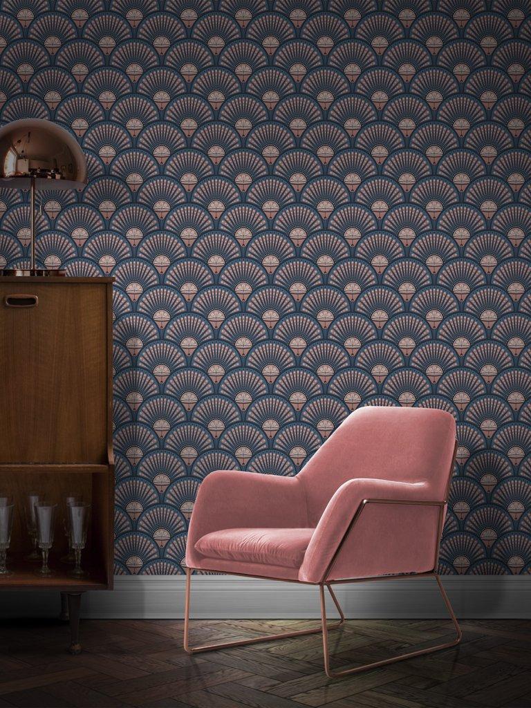 Divine Savages - Deco martini blush wallpaper - £140 per roll